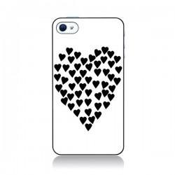 Coque Coeur en coeurs noirs pour iPhone 4 et 4S