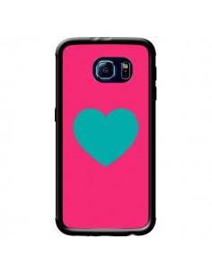 Coque Coeur Bleu Fond Rose pour Samsung Galaxy S6 - Laetitia