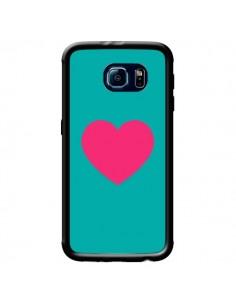 Coque Coeur Rose Fond Bleu pour Samsung Galaxy S6 - Laetitia
