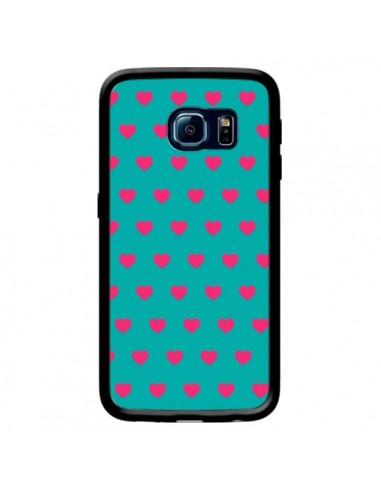 Coque Coeurs Roses Fond Bleu pour Samsung Galaxy S6 Edge - Laetitia
