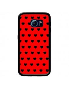 Coque Coeurs Noirs Fond Rouge pour Samsung Galaxy S6 Edge - Laetitia