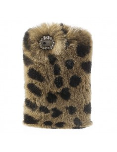 Coque en Fourrure Leopard Ultra Douce pour iPhone 5/5S
