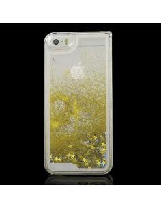 Coque Liquide avec Paillettes et Etoiles Doré pour iPhone 5/5S