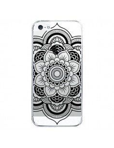 Coque iPhone 5/5S et SE Mandala Noir Azteque Transparente - Nico