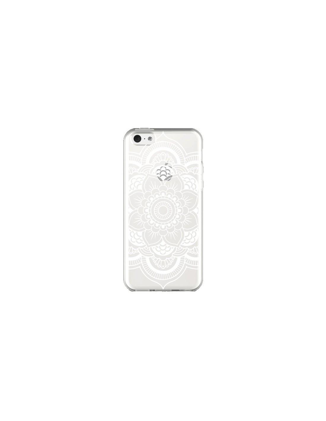 coque iphone 5c mandala blanc azteque transparente nico