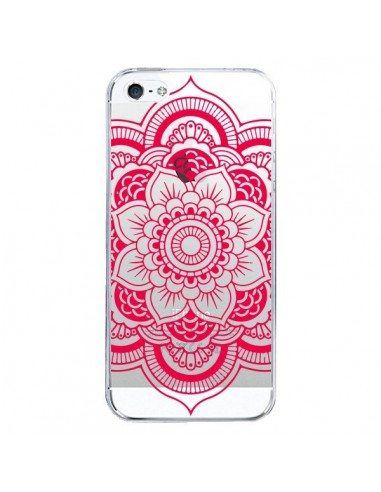 Coque iPhone 5/5S et SE Mandala Rose Fushia Azteque Transparente - Nico
