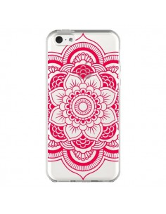 Coque iPhone 5C Mandala Rose Fushia Azteque Transparente - Nico