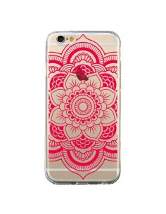 Coque iPhone 6 et 6S Mandala Rose Fushia Azteque Transparente - Nico