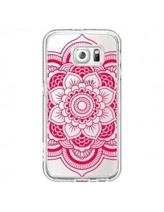 Coque Mandala Rose Fushia Azteque Transparente pour Samsung Galaxy S6 - Nico