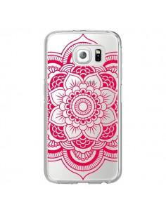Coque Mandala Rose Fushia Azteque Transparente pour Samsung Galaxy S6 Edge - Nico