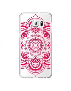 Coque Mandala Rose Fushia Azteque Transparente pour Samsung Galaxy S6 Edge Plus - Nico