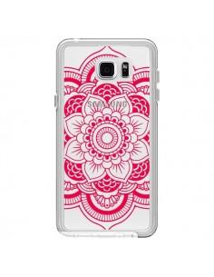 Coque Mandala Rose Fushia Azteque Transparente pour Samsung Galaxy Note 5 - Nico