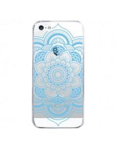 Coque iPhone 5/5S et SE Mandala Bleu Azteque Transparente - Nico