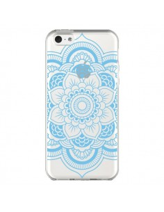 Coque iPhone 5C Mandala Bleu Azteque Transparente - Nico