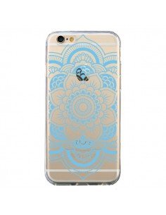Coque iPhone 6 et 6S Mandala Bleu Azteque Transparente - Nico