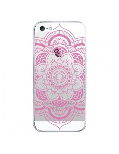 Coque iPhone 5/5S et SE Mandala Rose Clair Azteque Transparente - Nico