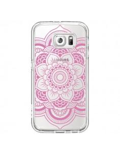 Coque Mandala Rose Clair Azteque Transparente pour Samsung Galaxy S6 - Nico