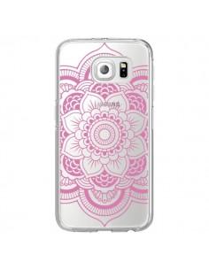 Coque Mandala Rose Clair Azteque Transparente pour Samsung Galaxy S6 Edge - Nico