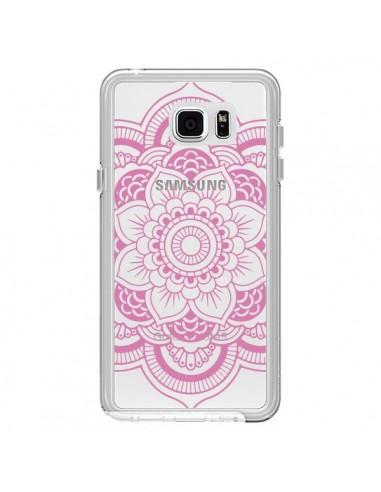 Coque Mandala Rose Clair Azteque Transparente pour Samsung Galaxy Note 5 - Nico