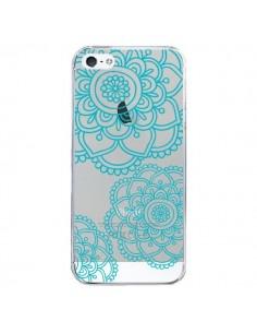 Coque iPhone 5/5S et SE Mandala Bleu Aqua Doodle Flower Transparente - Sylvia Cook