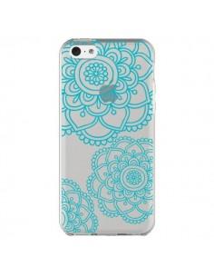 Coque Mandala Bleu Aqua Doodle Flower Transparente pour iPhone 5C - Sylvia Cook