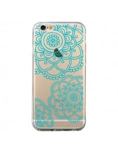 Coque iPhone 6 et 6S Mandala Bleu Aqua Doodle Flower Transparente - Sylvia Cook