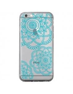 Coque Mandala Bleu Aqua Doodle Flower Transparente pour iPhone 6 Plus et 6S Plus - Sylvia Cook
