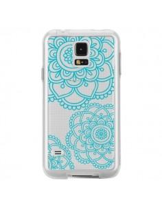 Coque Mandala Bleu Aqua Doodle Flower Transparente pour Samsung Galaxy S5 - Sylvia Cook