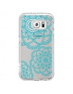 Coque Mandala Bleu Aqua Doodle Flower Transparente pour Samsung Galaxy S6 - Sylvia Cook