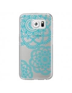 Coque Mandala Bleu Aqua Doodle Flower Transparente pour Samsung Galaxy S6 Edge - Sylvia Cook