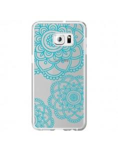 Coque Mandala Bleu Aqua Doodle Flower Transparente pour Samsung Galaxy S6 Edge Plus - Sylvia Cook