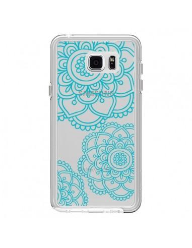 Coque Mandala Bleu Aqua Doodle Flower Transparente pour Samsung Galaxy Note 5 - Sylvia Cook