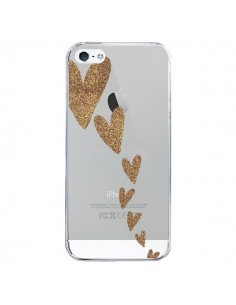 Coque iPhone 5/5S et SE Coeur Falling Gold Hearts Transparente - Sylvia Cook
