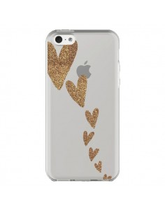 Coque iPhone 5C Coeur Falling Gold Hearts Transparente - Sylvia Cook