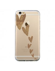 Coque iPhone 6 et 6S Coeur Falling Gold Hearts Transparente - Sylvia Cook