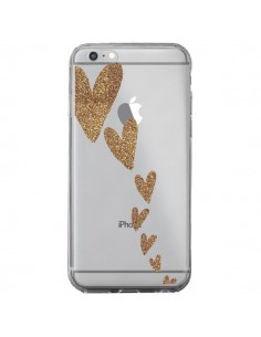 Coque iPhone 6 Plus et 6S Plus Coeur Falling Gold Hearts Transparente - Sylvia Cook