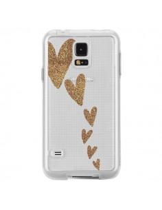Coque Coeur Falling Gold Hearts Transparente pour Samsung Galaxy S5 - Sylvia Cook