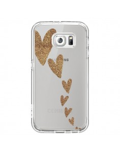 Coque Coeur Falling Gold Hearts Transparente pour Samsung Galaxy S6 - Sylvia Cook