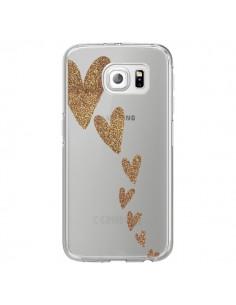 Coque Coeur Falling Gold Hearts Transparente pour Samsung Galaxy S6 Edge - Sylvia Cook