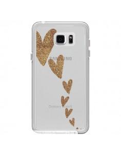 Coque Coeur Falling Gold Hearts Transparente pour Samsung Galaxy Note 5 - Sylvia Cook