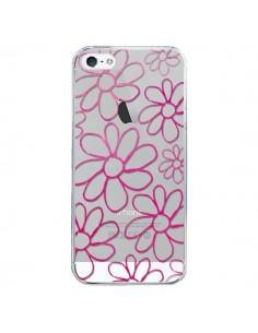 Coque iPhone 5/5S et SE Flower Garden Pink Fleur Transparente - Sylvia Cook