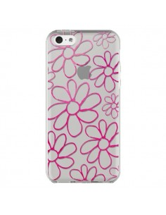 Coque Flower Garden Pink Fleur Transparente pour iPhone 5C - Sylvia Cook