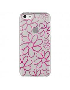 Coque iPhone 5C Flower Garden Pink Fleur Transparente - Sylvia Cook