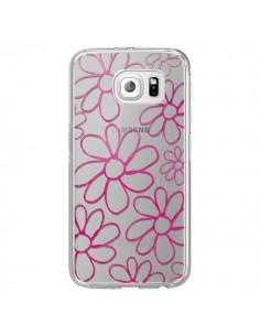 Coque Flower Garden Pink Fleur Transparente pour Samsung Galaxy S6 Edge - Sylvia Cook