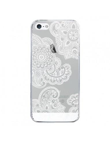 coque iphone 5 5s se lacey paisley mandala blanc fleur transparente sylvia cook