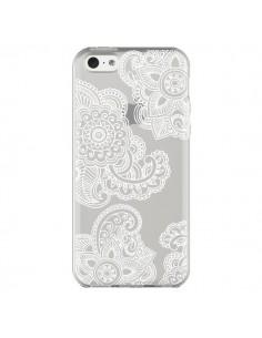 Coque iPhone 5C Lacey Paisley Mandala Blanc Fleur Transparente - Sylvia Cook