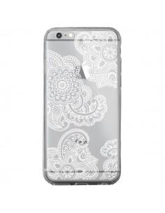 Coque iPhone 6 Plus et 6S Plus Lacey Paisley Mandala Blanc Fleur Transparente - Sylvia Cook
