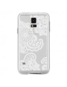 Coque Lacey Paisley Mandala Blanc Fleur Transparente pour Samsung Galaxy S5 - Sylvia Cook