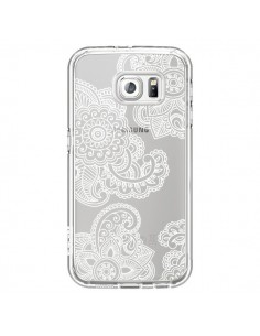 Coque Lacey Paisley Mandala Blanc Fleur Transparente pour Samsung Galaxy S6 - Sylvia Cook