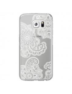 Coque Lacey Paisley Mandala Blanc Fleur Transparente pour Samsung Galaxy S6 Edge - Sylvia Cook